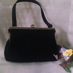 Frankie & Jihnnie Vintage Black Crochet Handbag